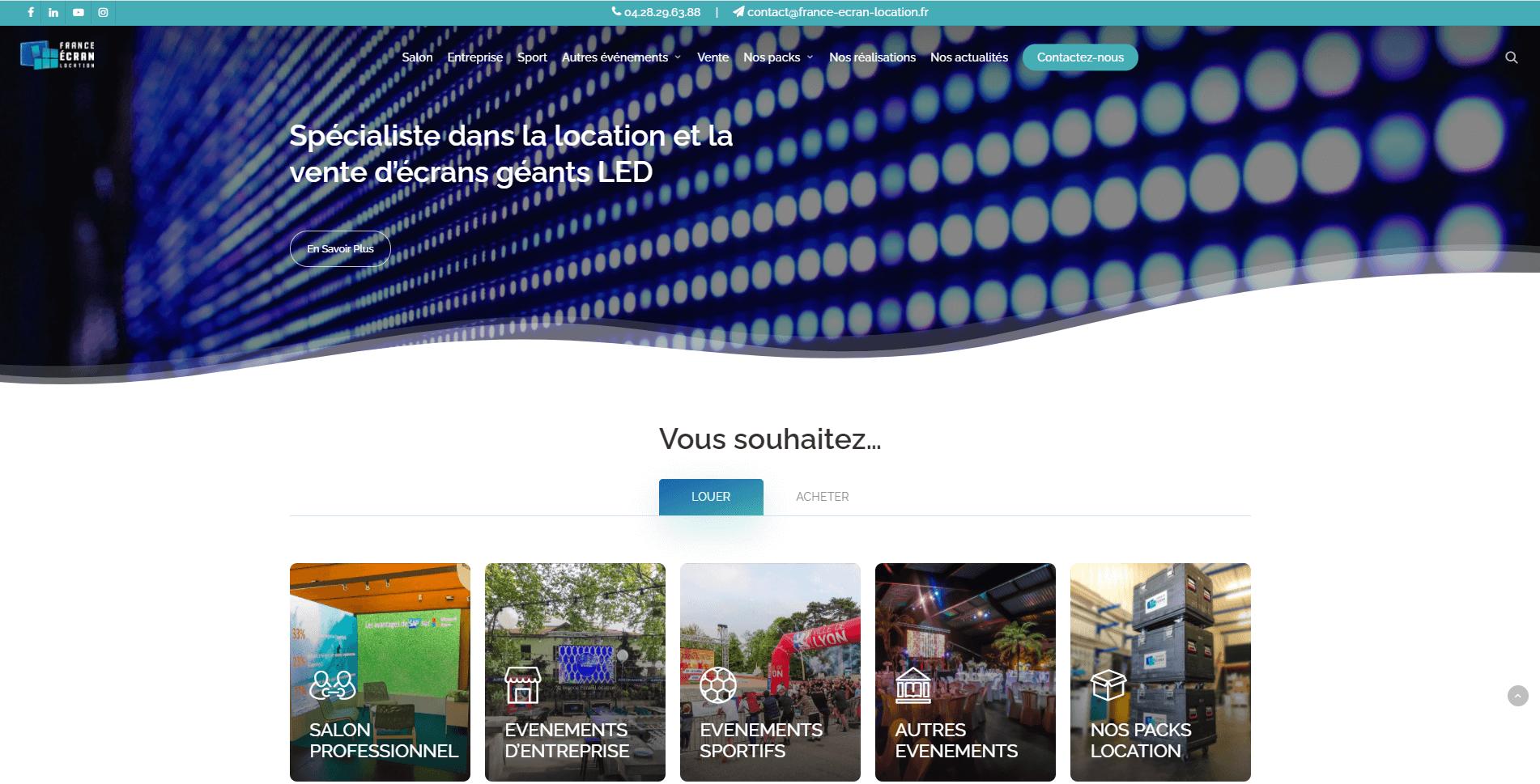 Capture d'écran site France Ecran Location